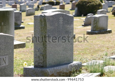 Headstones in a cemetery in New Jersey