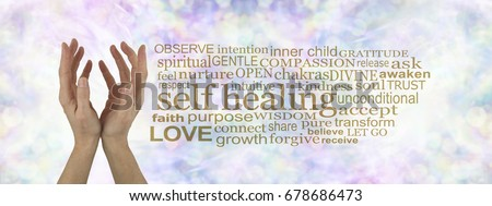 Heal Thyself - female cupped hands reaching upwards  on a subtle  pastel multicolored bokeh background with a gold SELF HEALING word cloud to the right