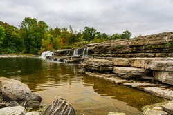 Healey Falls Havelock Ontario Canada in autumn featuring main Waterfalls on a overcast sky