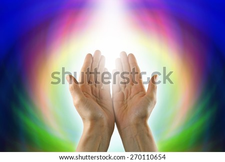 Healing Circle of Light - Female healer with hands open palm up surrounded by a rainbow circle of color and white light