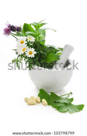 Healing herbs in mortar. Alternative medicine concept
