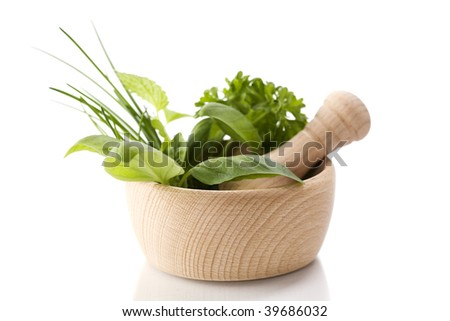 Healing herbs over white