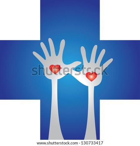Health Aid, Health Volunteer or First Aid Concept Present by Blue Cross With Raised Hands and Red Heart Inside Isolated on White Background