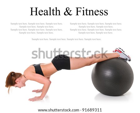 Health and Fitness Woman in gym outfit exercising with a Pilates ball with text space above