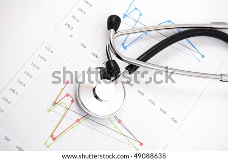 health and medical concept with stethoscope on diagram
