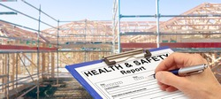Health and Safety Report Banner hand with clipboard beside new house construction - building concept
