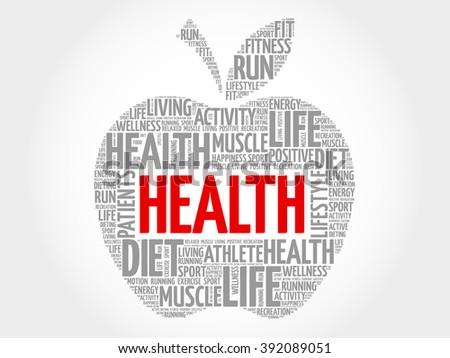 Health apple word cloud concept