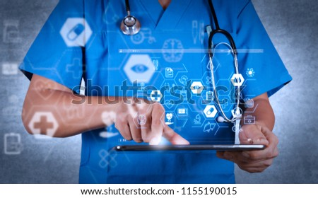 Health care and medical services concept with flat line AR interface.Doctor working on a digital tablet on texture background