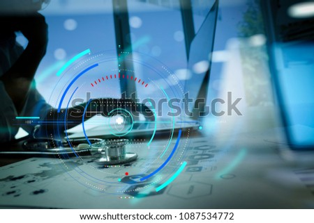 Health care and medical services with circular AR diagram record.Doctor working with digital tablet and laptop computer in medical workspace office and medical network media diagram as concept #1087534772