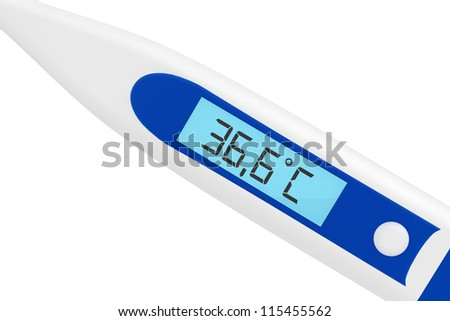 Health Care concept. Medical digital thermometer on a white background