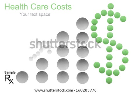 Health care cost concept with copyspace - money sign, arrow and bar chart made of medicine pills shows increasing costs