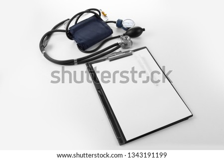 Health care medical concept with stethoscope pressure tool,  test.