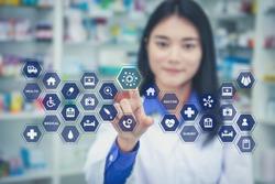 Health care medicine automation brain gear web development ideas iot concept. asia woman doctor brainstorm idea cogwheel medical modernization integration emr technology touching icon