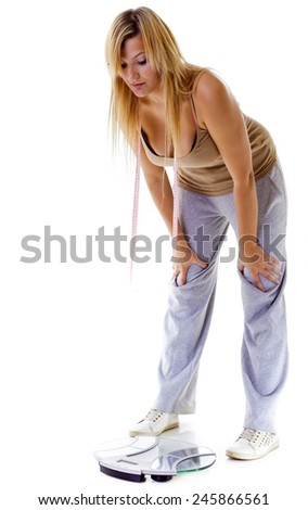 Health care overweight problem. Woman plus size large girl with scale unhappy very worried looking depressed with her weight control, studio shot isolated on white