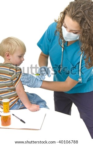 Health Care professional wearing gloves and mask preparing needle.  Vaccination or flu clinic theme