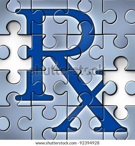 Health care reform concept with a RX pharmacy medical symbol in a puzzle jigsaw texture with pieces missing as change to the status quo of the broken hospital care insurance that needs to be fixed.