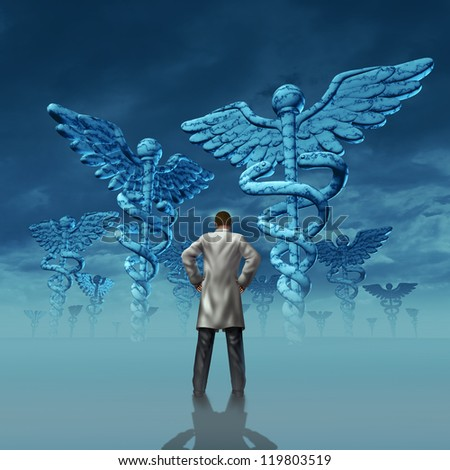 Health care stress and challenges faced by a doctor facing burnout over working at a hospital or medical clinic with a professional practitioner in a lab coat facing giant caduceus symbol sculptures.