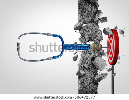 Health care success medical research breakthrough and medicine discovery as a doctor stethoscope shaped as a stethoscope breaking a wall to a target as a cure metaphor with 3D illustration elements. ストックフォト ©