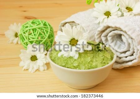 health care wellness stuff and chamomile flowers