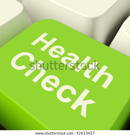 Health Check Computer Key In Green Showing Medical Examinations - stock photo