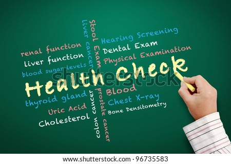 health check concept and other related words written on chalkboard