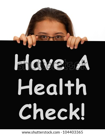 Health Check Message Showing Medical Examinations