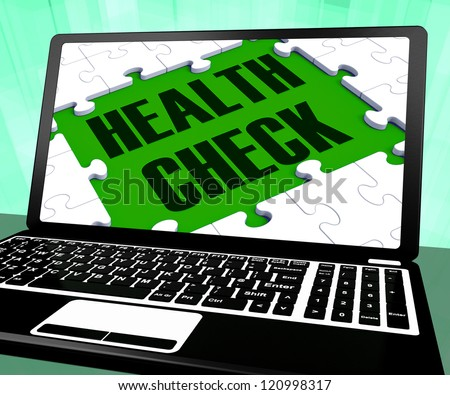 Health Check On Laptop Shows Well Being And Medical Care