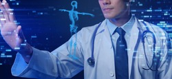 Health check, physical medical examination, doctor analyzing patient data futuristic digital smart technology 3D body scan medical for signs or symptoms medical condition.