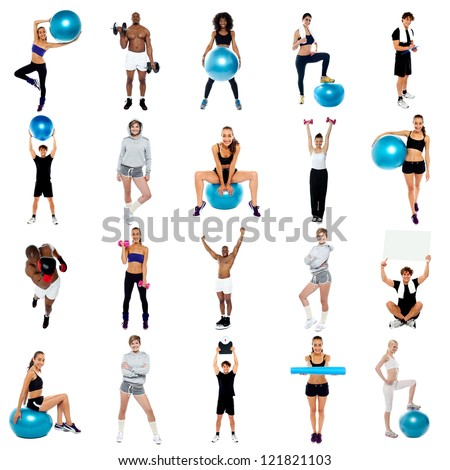Health concept collage. Its time to workouts and stay fit.