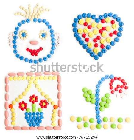 health concept created of medical pills. medical concepts with pills .  Colorful tablets