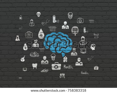 Health concept: Painted blue Brain icon on Black Brick wall background with  Hand Drawn Medicine Icons