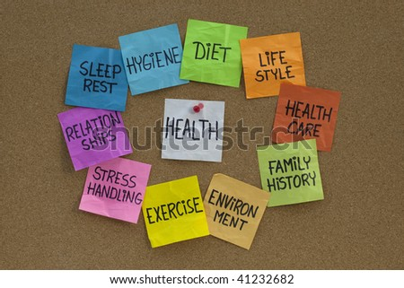 health concept - word cloud or circle of contributing factors, colorful sticky notes on cork bulletin board