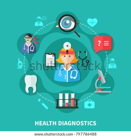 Health diagnostics flat round design with doctor laboratory ophthalmology and dentistry ambulance on green background  illustration
