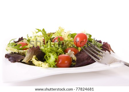 Health food concept - Tomatoes and green salad isolated on white - stock photo