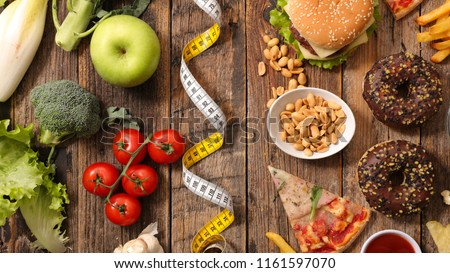 health food or junk food concept