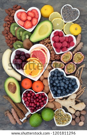 Health food selection with herbal medicine to relieve anxiety & stress that also helps relaxation, depression & reduces chronic fatigue. High in omega 3, antioxidants, minerals and vitamins. Top view.