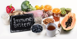Health  food to boost immune system. Hgh in antioxidants, minerals and vitamins. Top view