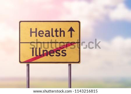 health illness - yellow road sign