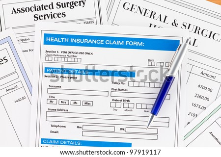 Health Insurance Claim Form with Invoices for Surgery
