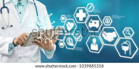 Health Insurance Concept - Doctor in hospital with health insurance related icons in modern graphic interface showing symbol of healthcare person, money saving, medical treatment and benefits. #1039885318