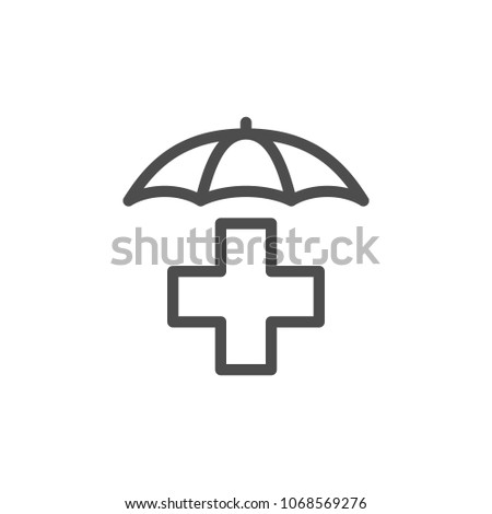 Health insurance line icon isolated on white