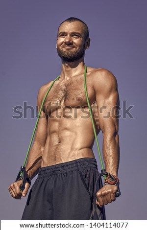 Health is wealth. Fit man with muscular torso. Muscular man with six pack abs. Sport and health care. Sport matters, wellness works.