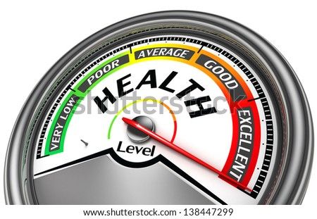 health level conceptual meter indicate excellent, isolated on white background
