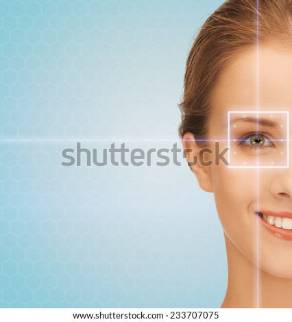 health, medicine, identity, vision and people concept - smiling beautiful young woman with laser light lines on her eye over blue background