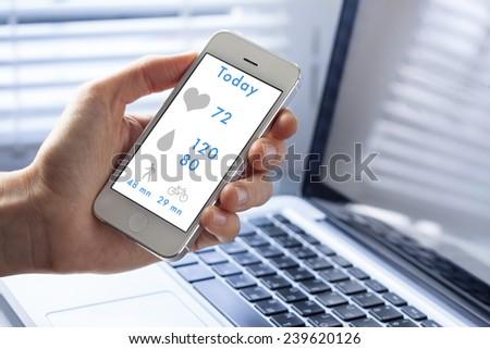 Health monitoring on smart phone screen #239620126