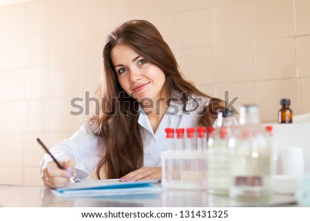 Health nurse working in the laboratory