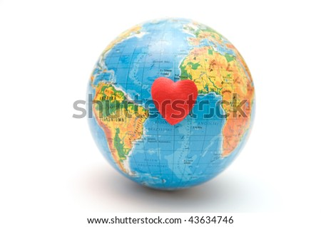 Health of the Earth conceptual. Globe with heart on white background, useful for various concepts
