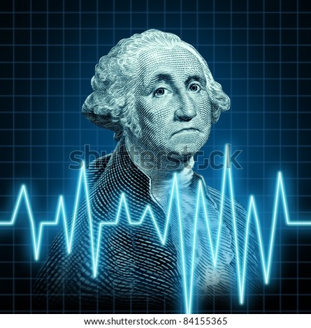 Health of the U.S. economy featuring the vintage portrait of George Washington with a heart monitor ekg graph symbol showing the  American currency during a dangerous recesion in the  U.S.A.