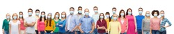 health, safety and pandemic concept - group of people wearing protective medical masks for protection from virus