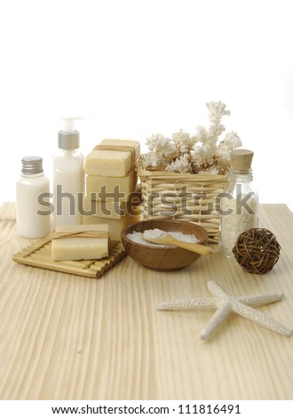 health spa setting on wooden board